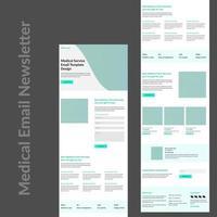 Werbe-E-Mail-Vorlagen für grüne und weiße medizinische Dienste