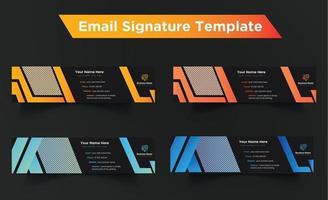 E-Mail-Signatur-Design in Schwarz und Farbverlauf für Geschäftsleute vektor