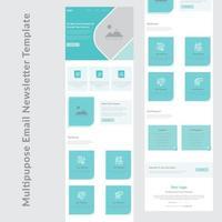 blå och vit multifunktionell e-post nyhetsbrev mall design vektor