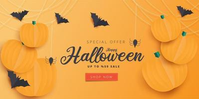 Papierkunst Halloween-Verkaufsfahne mit orange Kürbissen vektor