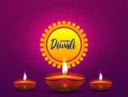 realistische Öllampe auf lila Muster für Diwali vektor