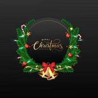 schwarzer Rahmen für Weihnachten und Neujahr mit Kranz
