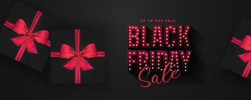 Retro Glühbirnen Zeichen schwarz Freitag Verkauf Banner vektor