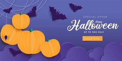 lila glückliche Halloween-Kalligraphie und Elemente zum Verkauf