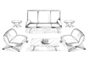 skissad husinredning med soffa och matbord vektor