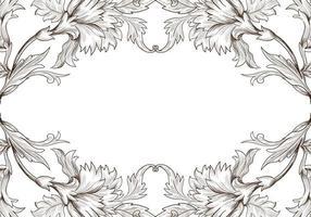 konstnärlig dekorativ skiss blommig ram vektor