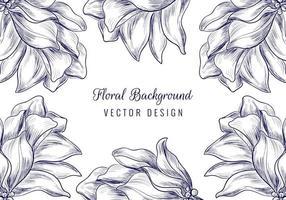 handritad prydnad blommig blomram vektor
