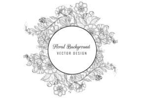 vintage dekorativ skiss blommig cirkel ram vektor