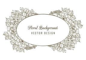 oval dekorativ skiss blommig kortram vektor