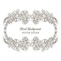 elegante dekorative Skizze floralen ovalen Kranz vektor