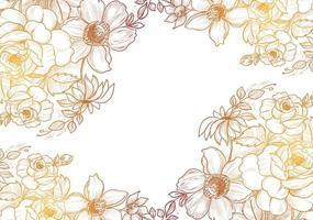 Gelbbrauner Farbverlauf handgezeichneter Blumenrahmen vektor