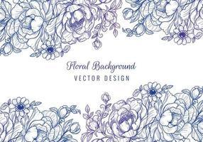 dekorative Blumenränder mit lila blauem Farbverlauf