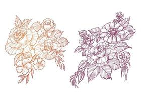 schönes Blumen-Skizzen-Set vektor