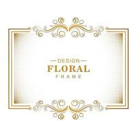 dekorativ gyllene blommig ram med halvton vektor