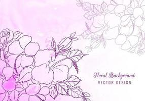 dekorative Umrissblumen auf lila Aquarell vektor