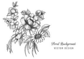 vacker blommig konstnärlig skiss vektor