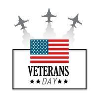 veteran dag firande och flagga och flygplan