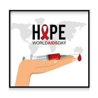 Hand hält eine Spritze für Welthilfetag