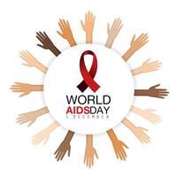 Hände und rotes Band auf Aids-Präventionskampagne