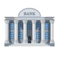 stilvolles Bankgebäude lokalisiert auf weißem Hintergrund