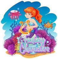 Meerjungfrau im Unterwasserweltdesign