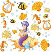 sjöjungfru och havsdjur tecknad stilmönster vektor
