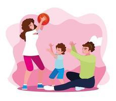 mor och far med son som leker