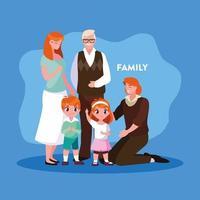 söta familjemedlemmar i affisch vektor