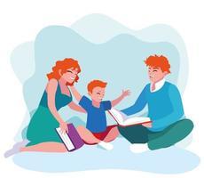 mamma och far som läser med sonen vektor