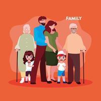 süße Familienmitglieder im Plakat vektor