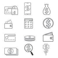 finans och dollar ikonuppsättning