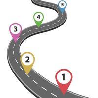 Weg Straße lokalisiert auf weißem Hintergrund vektor