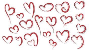rote Herzen Skizze gesetzt