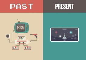 Entwicklung der Videospieltechnologie vektor