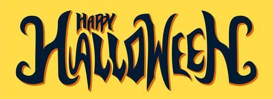 lycklig halloween textdesign på gult vektor