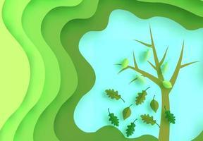 Papierkunst gekrümmte Schichten und Baum mit fallenden Blättern