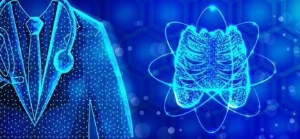 bröstkorgen läkare specialist låg poly wireframe design vektor