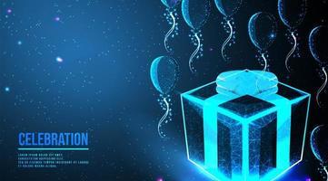 fliegende Luftballons und Geschenkbox Low Poly Wireframe Design