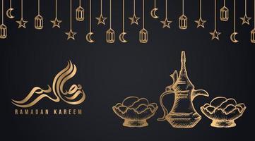 getrocknete Datteln Obstschalen und Teekanne Iftar Party Design vektor