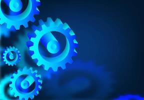 Mechanismus System Zahnräder auf blau vektor