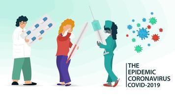 läkare och sjuk patient under koronaviruspandemi vektor