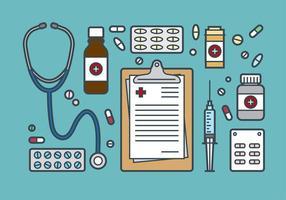 Medicinska och receptbelagda ikonvektor vektor