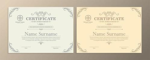 ljusa certifikat för prestationsmallar vektor