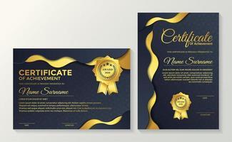 gewellte Gold- und Blau-Premium-Zertifikate vektor