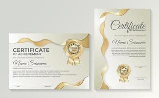 professionell gyllene certifikatmalluppsättning vektor