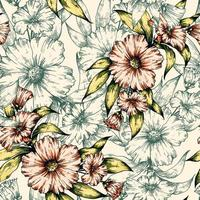 Skizze Blumen nahtloses Muster