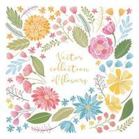 handritad blommig samling