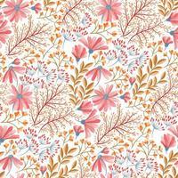 vårrosa, blått och orange blommönster