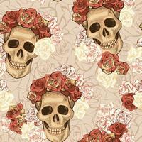 sömlösa mönster med skalle och blommor