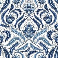 blommig blå dekorativt mönster vektor